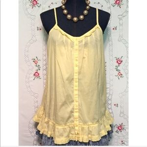 Susina Cotton Large Adjustable Straps Ruffles Top